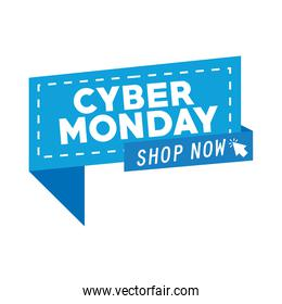 cyber monday lettering in speech bubble with arrow mouse