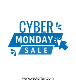 cyber monday lettering in ribbon frame with arrow mouse