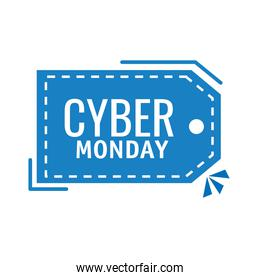 cyber monday lettering in tag hanging