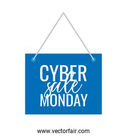cyber monday lettering in square label hanging