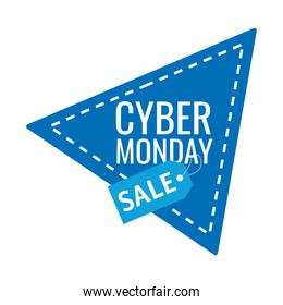 cyber monday lettering in triangular frame