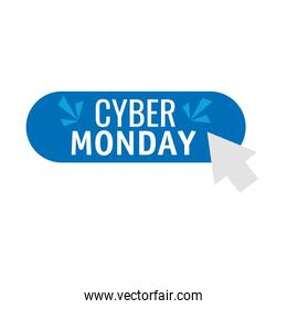 cyber monday lettering in button with arrow mouse