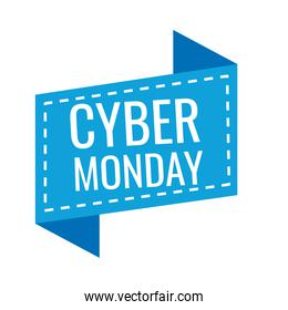 cyber monday lettering in ribbon frame icon