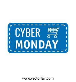 cyber monday lettering in square label with shopping cart