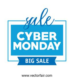 cyber monday lettering in square label with ribbon