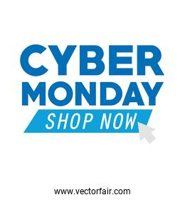 cyber monday lettering and mouse arrow in white background