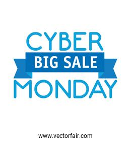 cyber monday lettering and ribbon in white background