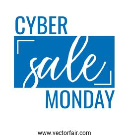 cyber monday lettering in square label