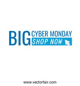 cyber monday lettering in white background