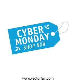 cyber monday lettering in blue tag hanging