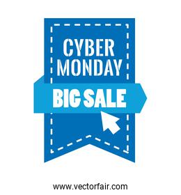 cyber monday lettering in ribbon frame hanging