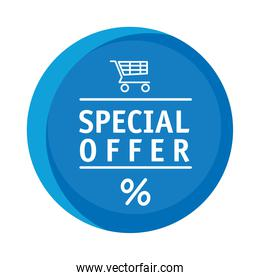 commercial circular sticker with special offer lettering