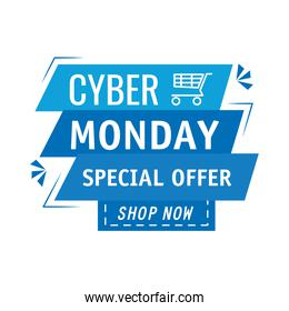 cyber monday lettering in ribbon frame