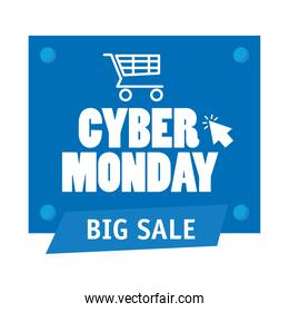 cyber monday lettering in square label with shopping cart and arrow cursor