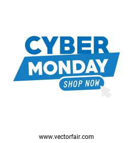 cyber monday lettering with arrow mouse in white background