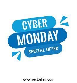 cyber monday lettering in label
