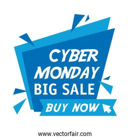 cyber monday lettering in ribbon frame and label