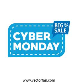 cyber monday lettering in square label and speech bubble