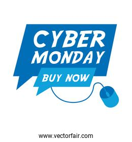 cyber monday lettering in speech bubble with mouse