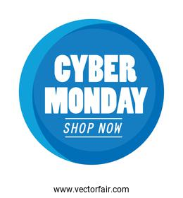 cyber monday lettering in circular seal