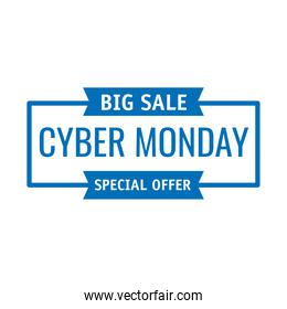 cyber monday lettering in white background rectangle frame