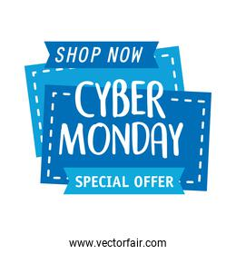 cyber monday lettering in square label and ribbons