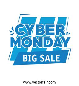 cyber monday lettering in square label and stripes