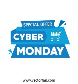 cyber monday lettering in ribbon frame with shopping cart