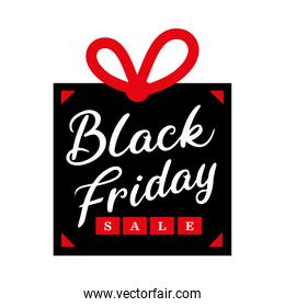 black friday sale lettering in gift
