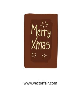 merry xmas greeting card lettering icon isolated design