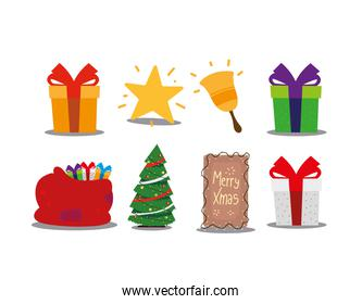 merry christmas gifts tree star bell and bag celebration decoration icons