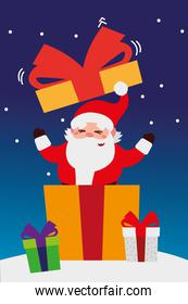 merry christmas, santa coming out gift in snow celebration decoration
