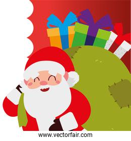 merry christmas, santa with gifts in bag celebration decoration
