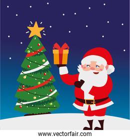 merry christmas cute santa with gift box and tree in snow decoration