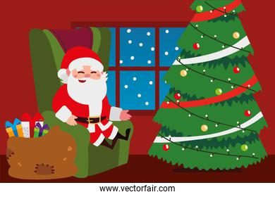 merry christmas santa sitting in sofa with tree and gifts in home celebration