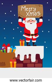 merry christmas santa with lettering and gifts in chimney celebration