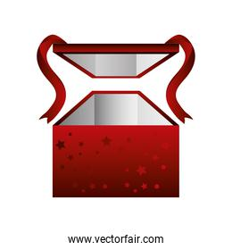 boxing day, red box with ribbon and stars christmas seasonal offer