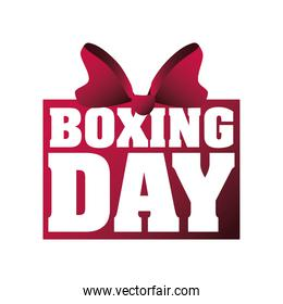 boxing day, inscription with red bow christmas seasonal offer