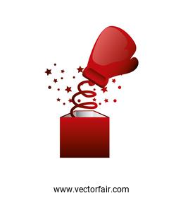 boxing day, boxing glove coming out of gift box, christmas seasonal offer
