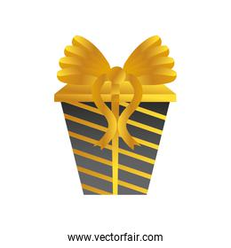 boxing day, striped black gift box with golden bow christmas seasonal offer