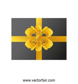 boxing day, top view gift box with golden bow christmas seasonal offer