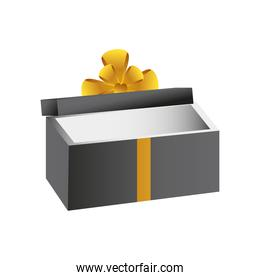 boxing day, open gift box with golden ribbon christmas seasonal offer