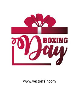 boxing day, christmas seasonal offer lettering gift sale template