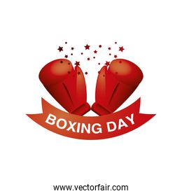 boxing day, christmas seasonal offer red gloves stars text