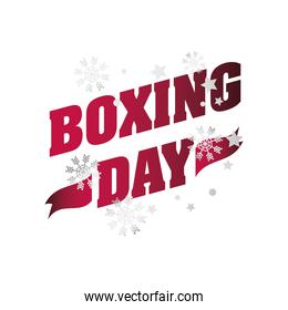 boxing day, lettering with snowflakes decoration christmas seasonal offer