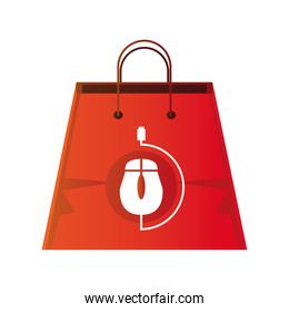 online shopping, bag digital ecommercial icon isolated design