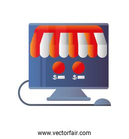 online shopping, computer market technology icon isolated design