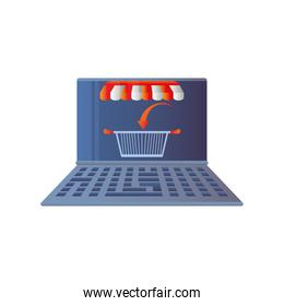 online shopping, laptop technology basket market icon isolated design