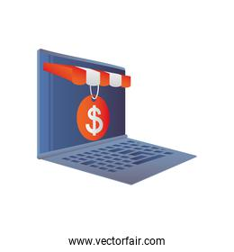 online shopping, laptop store price tag marketing icon isolated design