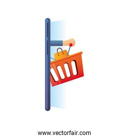 online shopping, smartphone basket market icon isolated design